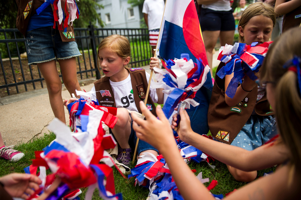. Alexis Johnston, 8, of Girl Scout Troop 28 for the 5th Annual July 4th Park Hill Parade along 23rd Avenue  on Friday, July 04, 2014 in Denver, CO.  (Photo by Kent Nishimura/The Denver Post)