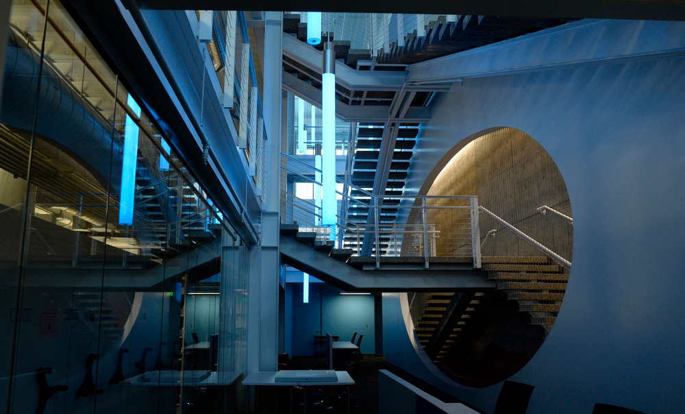 . The interior atrium and stairway at the new administrative building for Denver Art Museum on Thursday, June 26, 2014.  (Denver Post Photo by Cyrus McCrimmon)