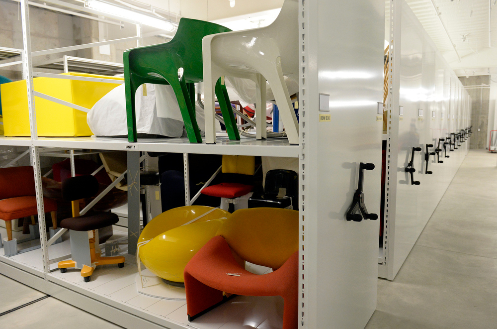 . The storage space for chairs in the furniture collection at the new administrative building for Denver Art Museum on Thursday, June 26, 2014.  (Denver Post Photo by Cyrus McCrimmon)
