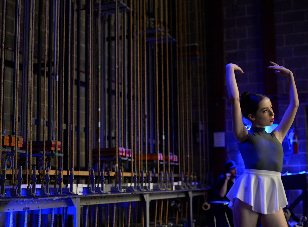 . 14-year-old Calista  Olson warms up backstage as hundreds of ballet dancers came to The Theater at Colorado Heights University in Denver   to compete in the  Youth America Grand Prix Regional semi-finals   on Friday, February 19, 2016.  The weekend competition was for dancers to earn scholarships and invitations to prestigious dance companies.    (Photo by Cyrus McCrimmon/ The Denver Post)