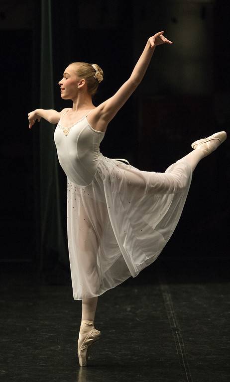. 14-year-old Caroline Walton was one of hundreds of ballet dancers  that came to The Theater at Colorado Heights University in Denver to compete in the Youth America Grand Prix Regional semi-finals   on Friday, February 19, 2016.  The weekend competition was for dancers to earn scholarships and invitations to dance companies.    (Photo by Cyrus McCrimmon/ The Denver Post)