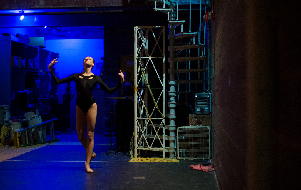 . Hundreds of ballet dancers came to  The Theater at Colorado Heights University in Denver to compete in the  Youth America Grand Prix Regional semi-finals   on Friday, February 19, 2016.  Backstage Haily Foster,14, from Oak Grove, California warms up before competing in the junior contemporary category.  The weekend competition was for dancers to earn scholarships and invitations to prestigious dance companies.    (Photo by Cyrus McCrimmon/ The Denver Post)