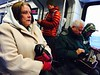 Cold, wet riders on the RTD F-Line experience flickering power on the train Wednesday morning March 23, 2016.  (Photo by Ken Lyons/The Denver Post)