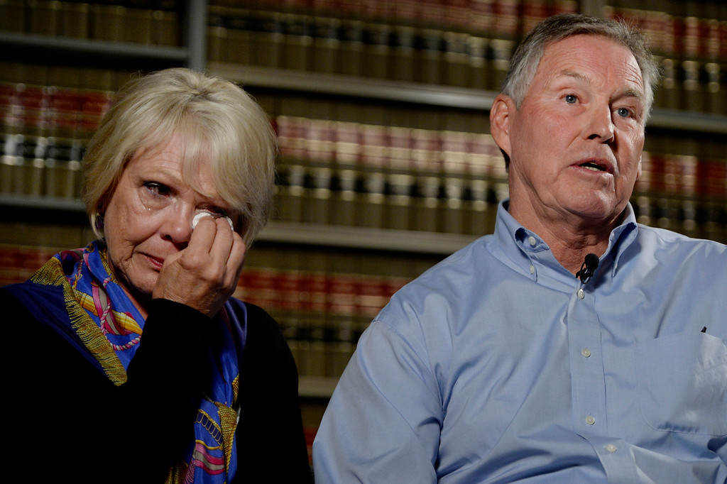. (l-r) Marti and Wayne Kohnke talk about their daughter Kristine Kirk during an interview in Denver, CO August 26, 2014. Kristine Kirk, 44, died April 14 of a gunshot wound while she made a 911 emergency call from her home. Her husband, Richard, faces a first-degree murder charge. (Photo By Craig F. Walker / The Denver Post)