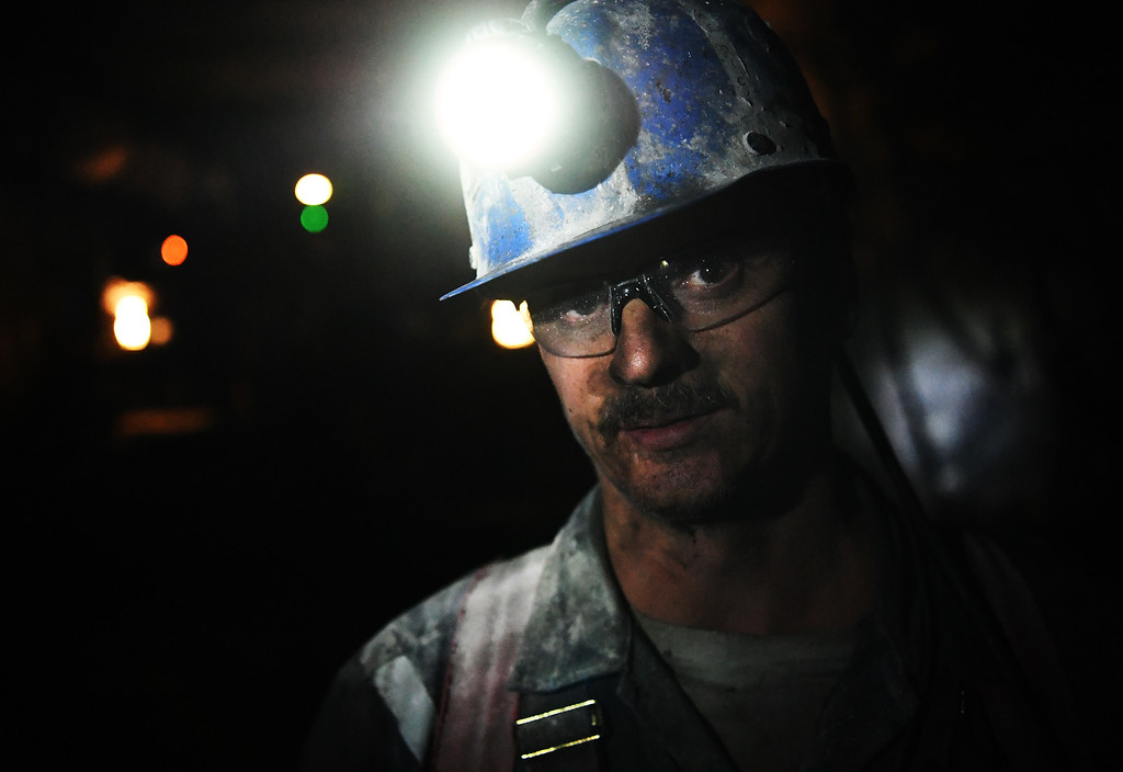 . Terry Hardman works underground at the West Elk Mine in Somerset Colorado, April 28, 2016. The coal mine is the last coal mine still operating in the area. Two other mines near Somerset recently closed. (Photo by RJ Sangosti/The Denver Post)