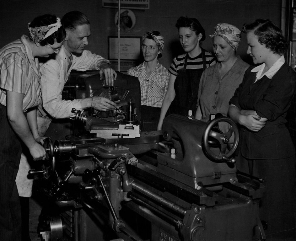 . Emily Griffith Opportunity School shop class Aug. 28 1942 Left to right --- Miss Edythe Vonderheide, Denver.  H.J. Crim, Instructor.  Mrs. Vera Tice, Greeley.  Mrs. Ruth Richardson, Denver. Mrs. Rosamond Albiston, Aurora. Miss Carla Beach, Lakewood.  Denver Post Library photo archive