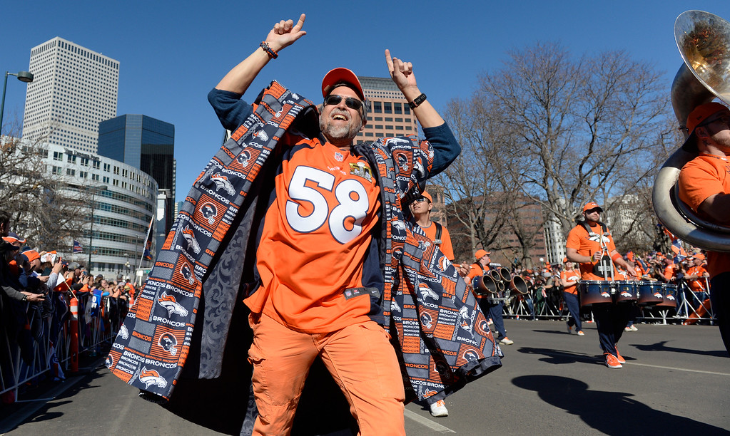 . The Denver Broncos were celebrating their Super Bowl victory with a parade through the streets of Denver on Tuesday, February 09, 2016. The parade winds down Broadway just past Colfax Ave.  (Photo by Cyrus McCrimmon/ The Denver Post)