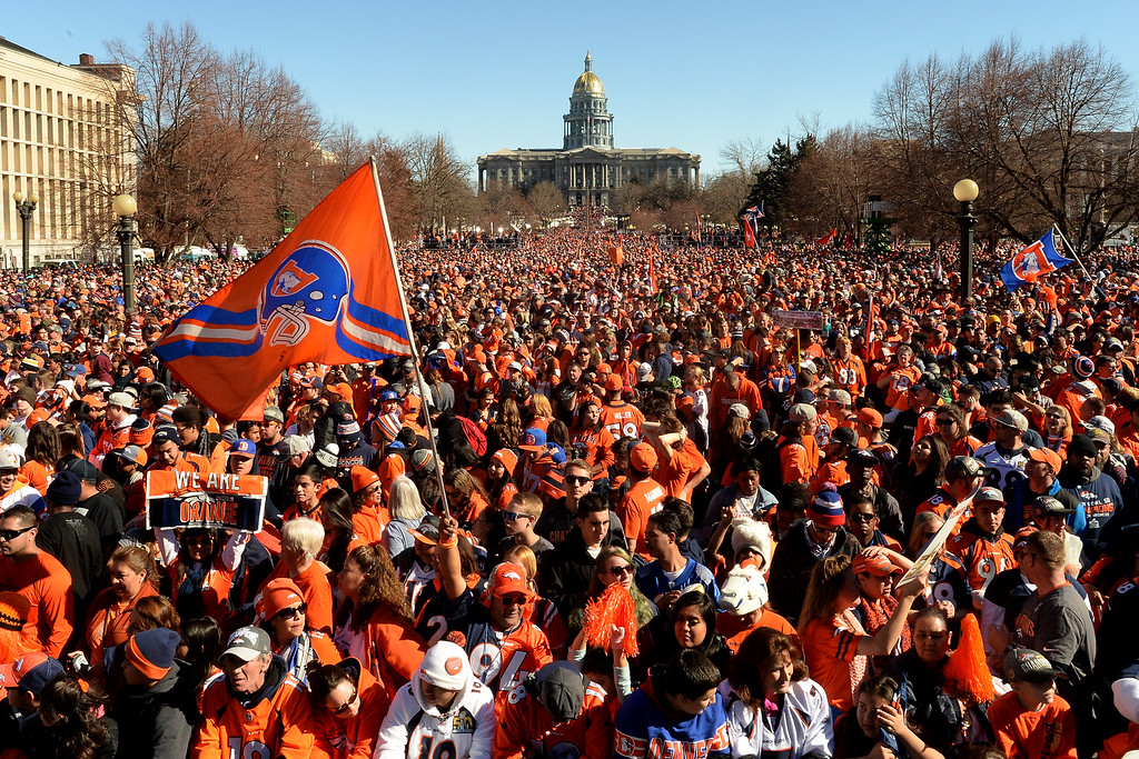 . A large crowd gathers in Civic Center park during the Denver Broncos Super Bowl championship celebration and parade on Tuesday February 9, 2016. (Photo By AAron Ontiveroz/The Denver Post)