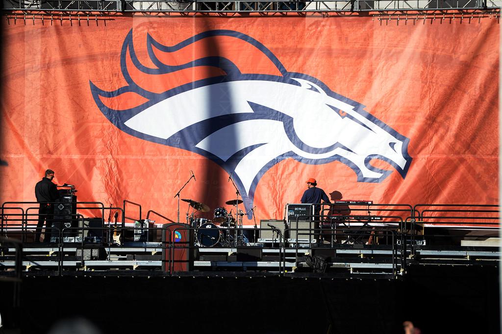 . DENVER, CO - February 09: Stage prep at Civic Center Park for the Denver Broncos Super Bowl 50 celebration parade February 07, 2016. (Photo by Andy Cross/The Denver Post)