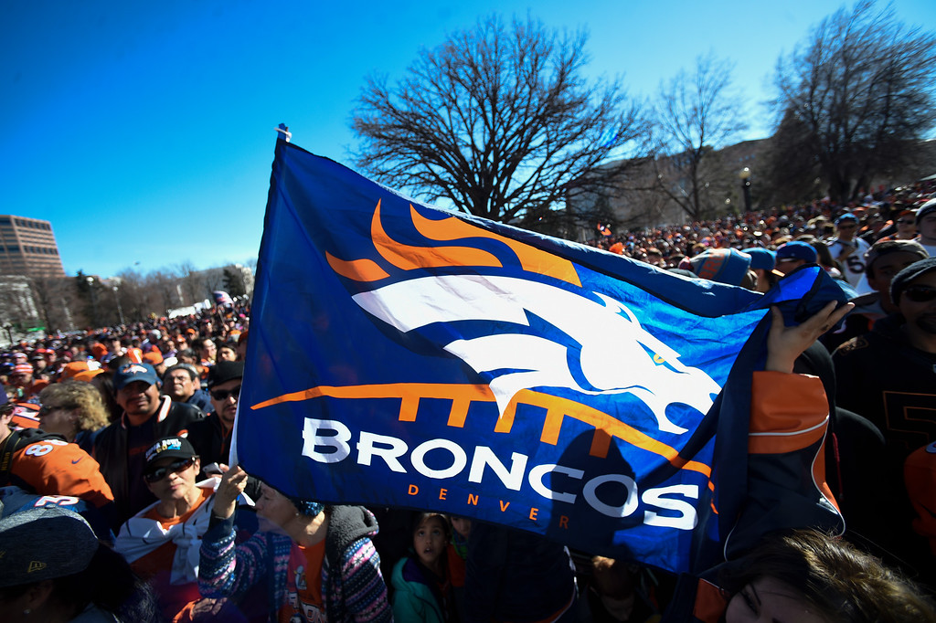 . A huge crowd gathers at Civic Center Park to get a view of the Denver Broncos as they celebrate their Super Bowl victory with a  a parade and celebration February 9, 2016 at the City & County Building. (Photo By John Leyba/The Denver Post)