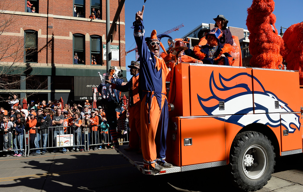 . The Denver Broncos were celebrating their Super Bowl victory with a parade through the streets of Denver on Tuesday, February 09, 2016.  The parade heads down 17th Street.  (Photo by Cyrus McCrimmon/ The Denver Post)