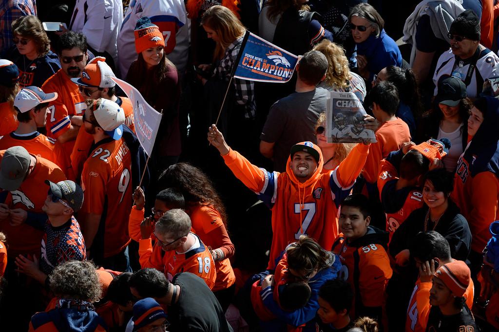 . Denver Broncos fans during the Denver Broncos Super Bowl 50 celebration parade February 07, 2016. (Photo by Andy Cross/The Denver Post)