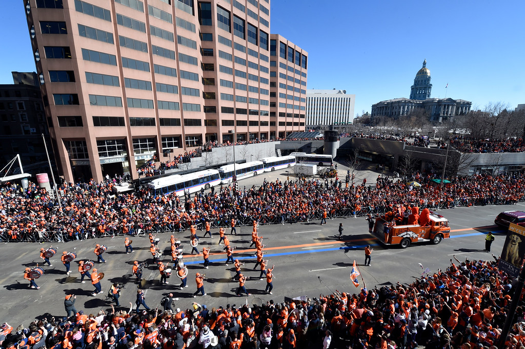 . The Denver Broncos Stampede drumlins marches during the Super Bowl parade down Broadway celebrating the team\'s Super Bowl 50 championship on February 9, 2016, in Denver, Colorado. (Photo by Daniel Petty/The Denver Post)