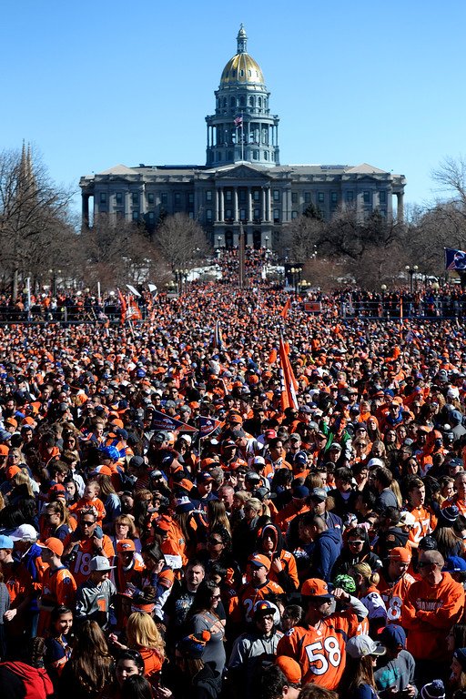 . A large crowd gathers during the Denver Broncos Super Bowl championship celebration and parade on Tuesday February 9, 2016. (Photo By AAron Ontiveroz/The Denver Post)