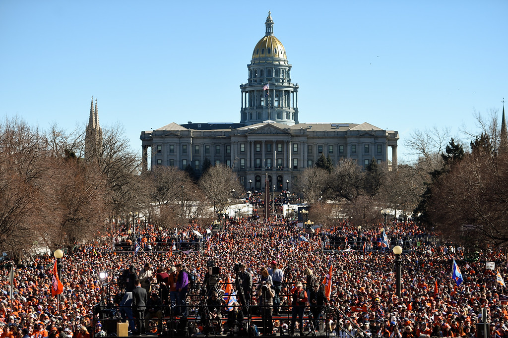 . A big crowd gathers at Civic Center Park as the Denver Broncos celebrated their Super Bowl victory with a parade and celebration February 9, 2016 at the City & County Building. The Broncos defeated the Panthers 24-10 in Super Bowl 50 in Santa Clara, California (Photo By John Leyba/The Denver Post)