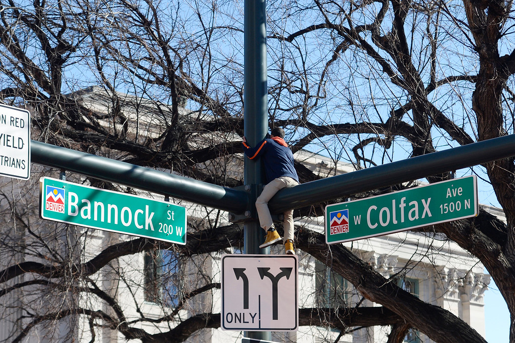 . A man straddles a light pole at the corner of Colfax and Bannock for a better vantage point during the Denver Broncos Super Bowl championship celebration and parade on Tuesday February 9, 2016. (Photo By AAron Ontiveroz/The Denver Post)
