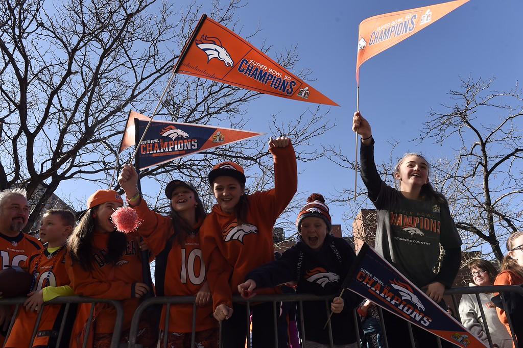 . DENVER, CO - FEBRUARY 9: Fans wait along 17th street for the Super Bowl  to begin in Denver, Colorado on February 9th, 2016.  (Helen H. Richardson/The Denver Post)