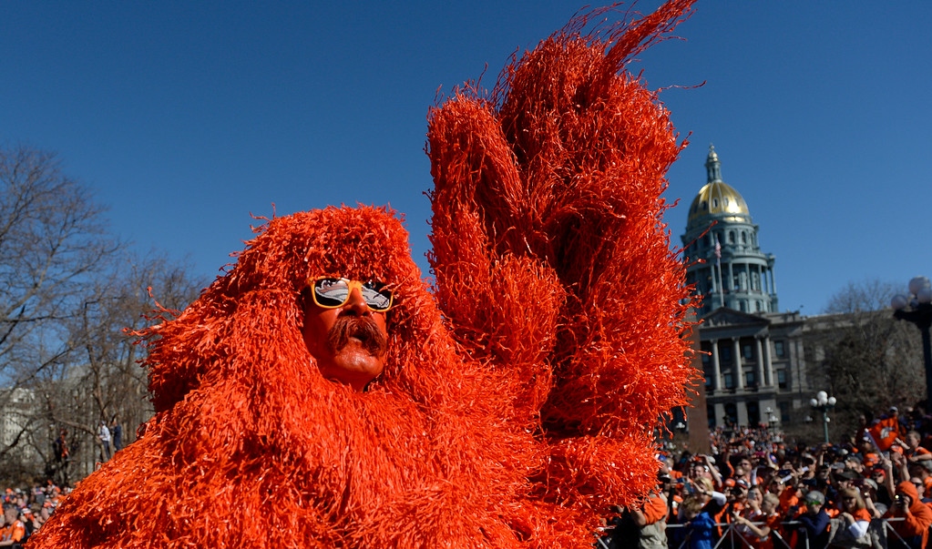 . The Denver Broncos were celebrating their Super Bowl victory with a parade through the streets of Denver on Tuesday, February 09, 2016.  Kerry Green the Mile High Monster walks past the capitol.   (Photo by Cyrus McCrimmon/ The Denver Post)