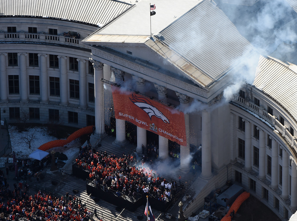 . Fans gather at Civic Center Park, in downtown Denver during a parade to celebrate the Denver Broncos winning Super Bowl 50, February 09, 2016. The parade started at Union Station and ended at Civic Center Park. (Photo by RJ Sangosti/The Denver Post)