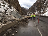 Rock slide in Glenwood Canyon which occurred just west of the Hanging Lake Tunnel, sent boulders tumbling into at least three vehicles. No injuries were reported, but the rocks gouged holes in the asphalt and damaged guardrails. (Provided by CDOT)
