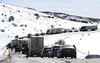 A long line of traffic waits for crews to clear a semi-truck accident that closed Colorado Highway 131 near Oak Creek on Friday afternoon. The road, which is serving as a detour route for thousands of vehicles that cannot go through Glenwood Canyon on Interstate 70, saw traffic delays throughout the day. (Scott Franz/Steamboat Pilot & Today)