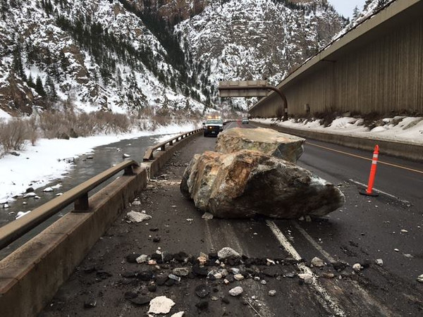 Rock slide in Glenwood Canyon which occurred just west of the Hanging Lake Tunnel, sent boulders tumbling into at least three vehicles. No injuries were reported, but the rocks gouged holes in the asphalt and damaged guardrails. (Provided by CDOT)Rock slide in Glenwood Canyon which occurred just west of the Hanging Lake Tunnel, sent boulders tumbling into at least three vehicles. No injuries were reported, but the rocks gouged holes in the asphalt and damaged guardrails. (Provided by CDOT)