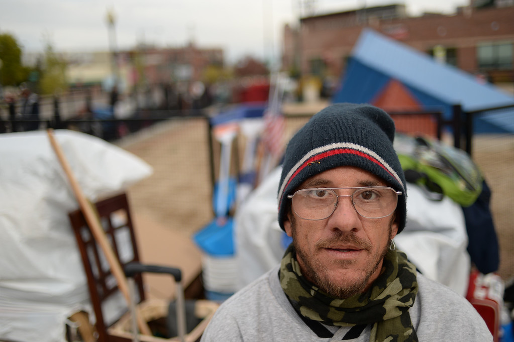. A homeless man who goes by Leprechaun said he was there on Saturday night when Denver police arrested 10 protesters who were angered by Denver Housing Authority plans to sell land now occupied by a community garden to a private developer, October 26, 2015. He is now staying at a shelter he built at 25th and Lawrence streets in downtown Denver. (Photo by RJ Sangosti/The Denver Post)