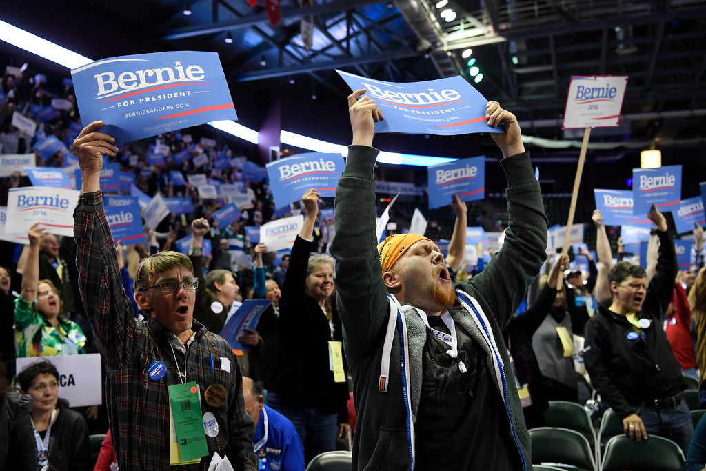 . Bernie Sanders supporters get fired up at the Colorado Democratic State Convention at the Budweiser Events Center April 17, 2016. (Photo by Andy Cross/The Denver Post)