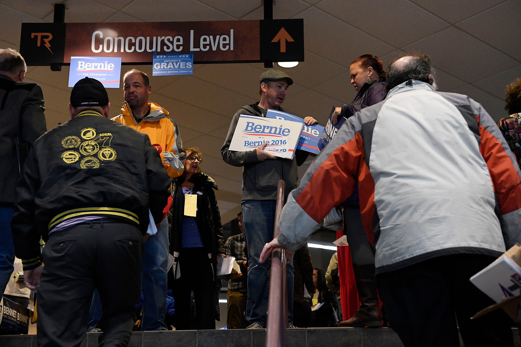 . Convention goers file into the Colorado Democratic State Convention at the Budweiser Events Center April 17, 2016. (Photo by Andy Cross/The Denver Post)