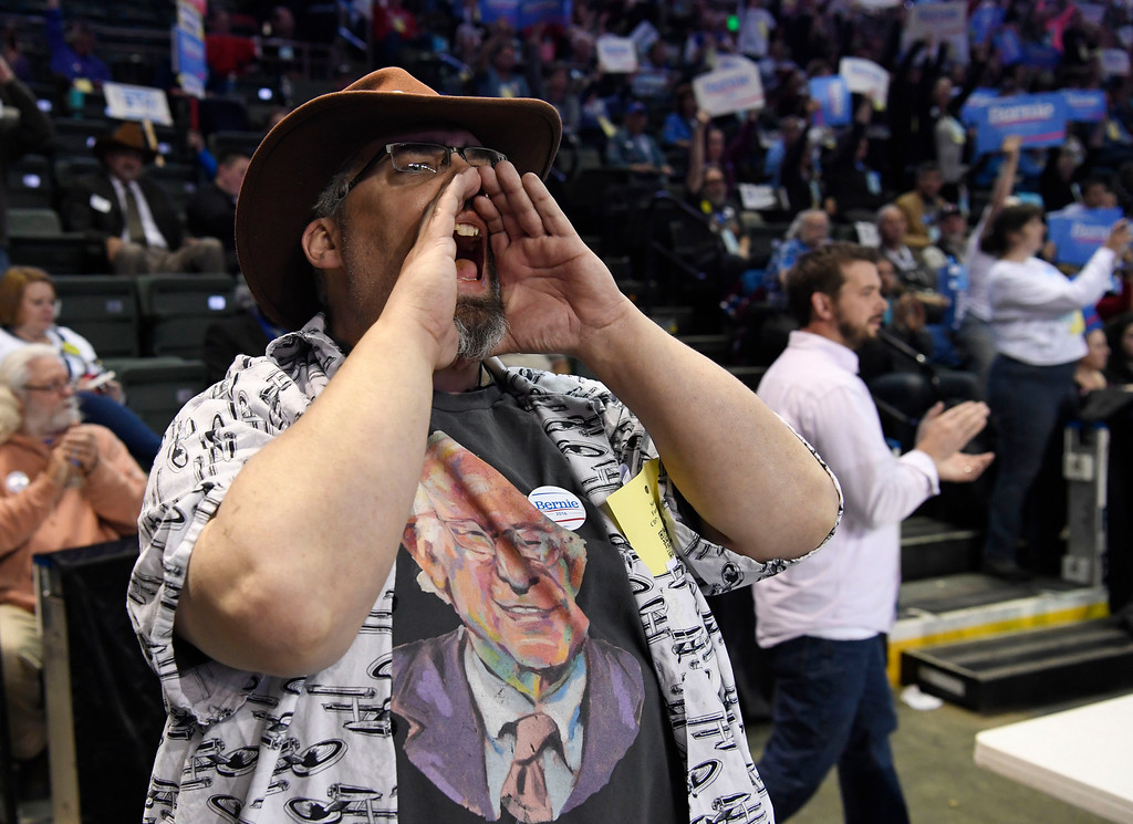 . Bernie Sanders supporter Sean Patrick Fannon voices his support for Sanders at the Colorado Democratic State Convention at the Budweiser Events Center April 17, 2016. (Photo by Andy Cross/The Denver Post)