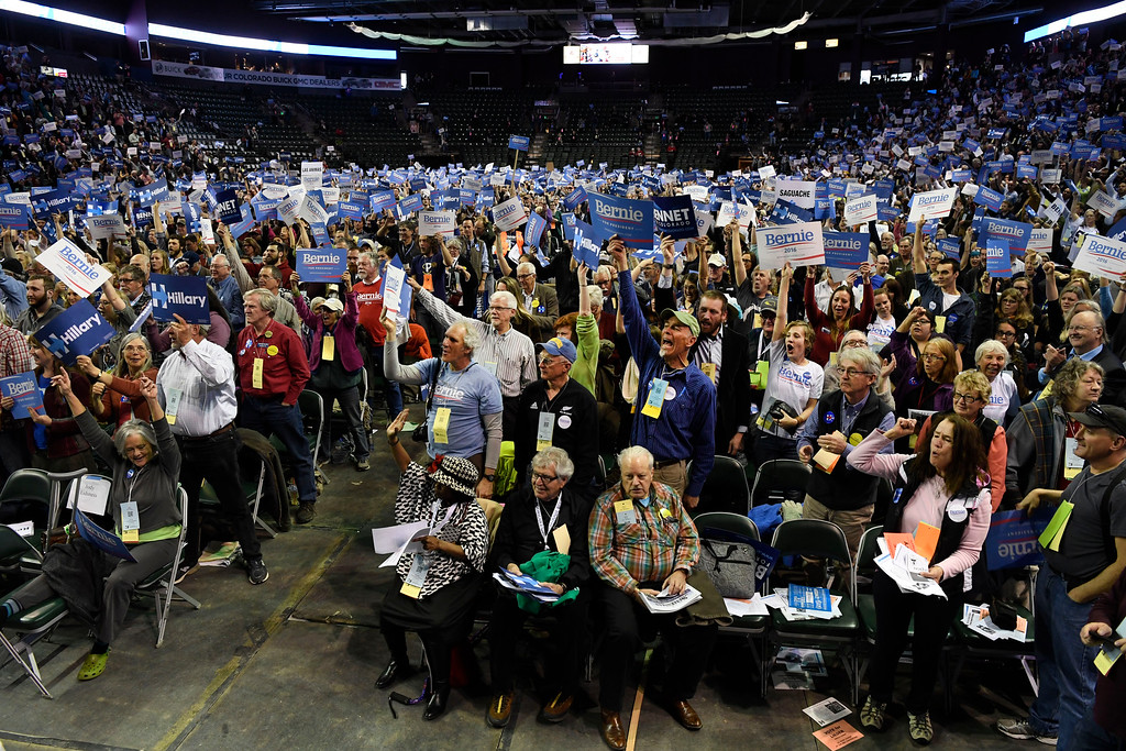 . Convention goers show their support at the Colorado Democratic State Convention at the Budweiser Events Center April 17, 2016. (Photo by Andy Cross/The Denver Post)