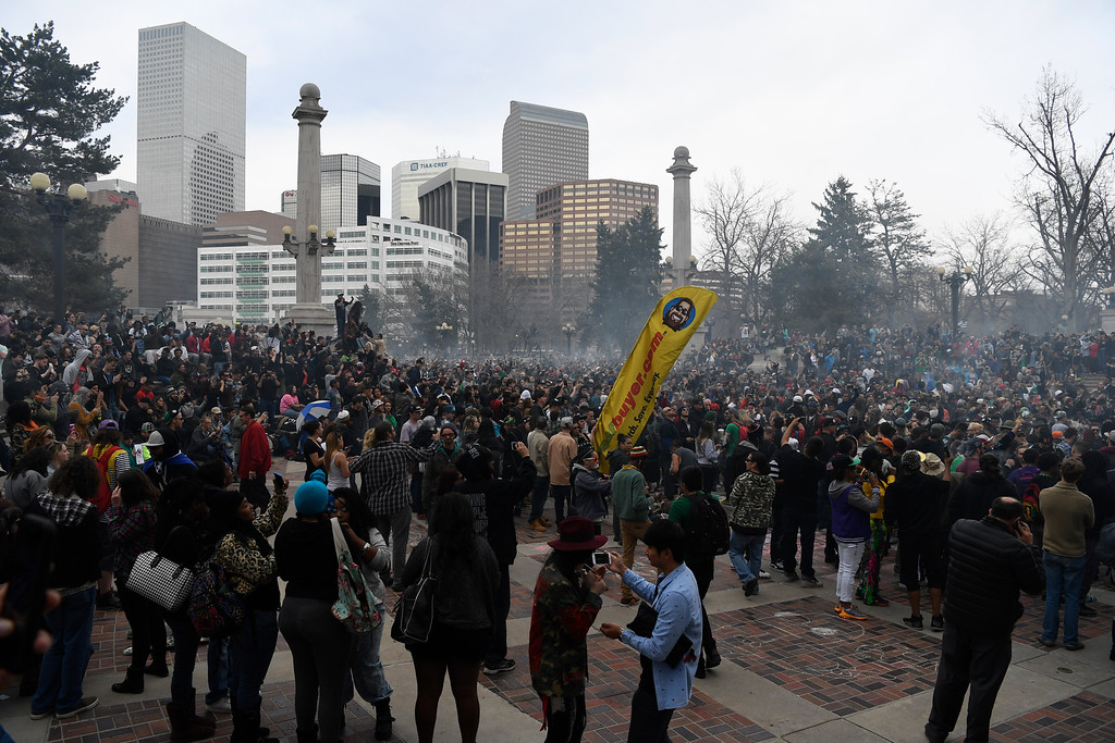 . DENVER, CO - April 20: annual 420 gathering at Civic Center Park April 20, 2016. (Photo by Andy Cross/The Denver Post)