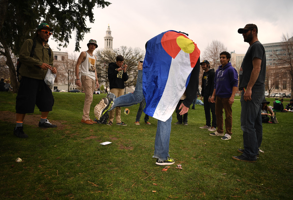 . People play hacky sack  at Civic Center Park during the 420 celebration in Denver, April 20, 2016. (Photo by RJ Sangosti/The Denver Post)