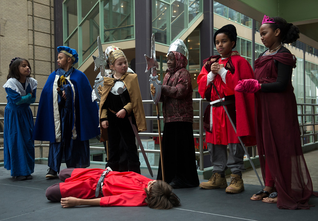 . Students from Montclair Elementary School perform Romeo and Juliet together. (Photo by Kathryn Scott Osler/The Denver Post)