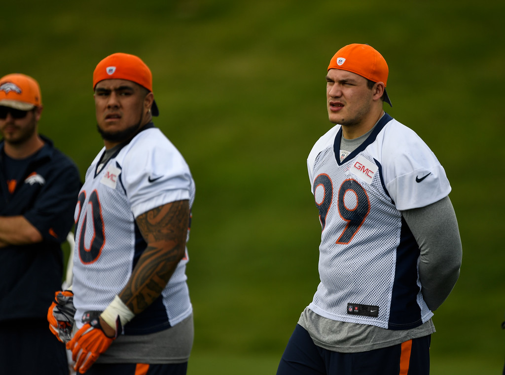 . Denver Broncos Adam Gotis (99) looks on during  rookie minicamp May 6, 2016 at UCHealth Training Facility. (Photo By John Leyba/The Denver Post)