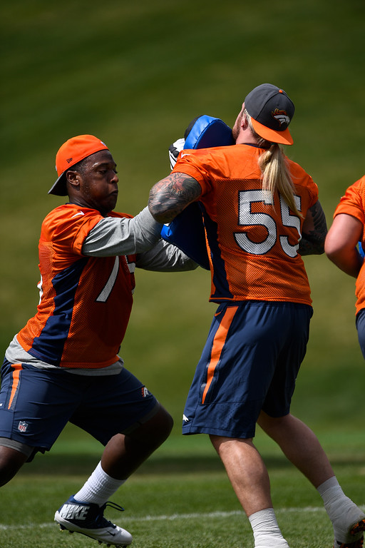 . Denver Broncos Cameron Jefferson (75) runs through drills during rookie minicamp May 6, 2016 at UCHealth Training Facility. (Photo By John Leyba/The Denver Post)