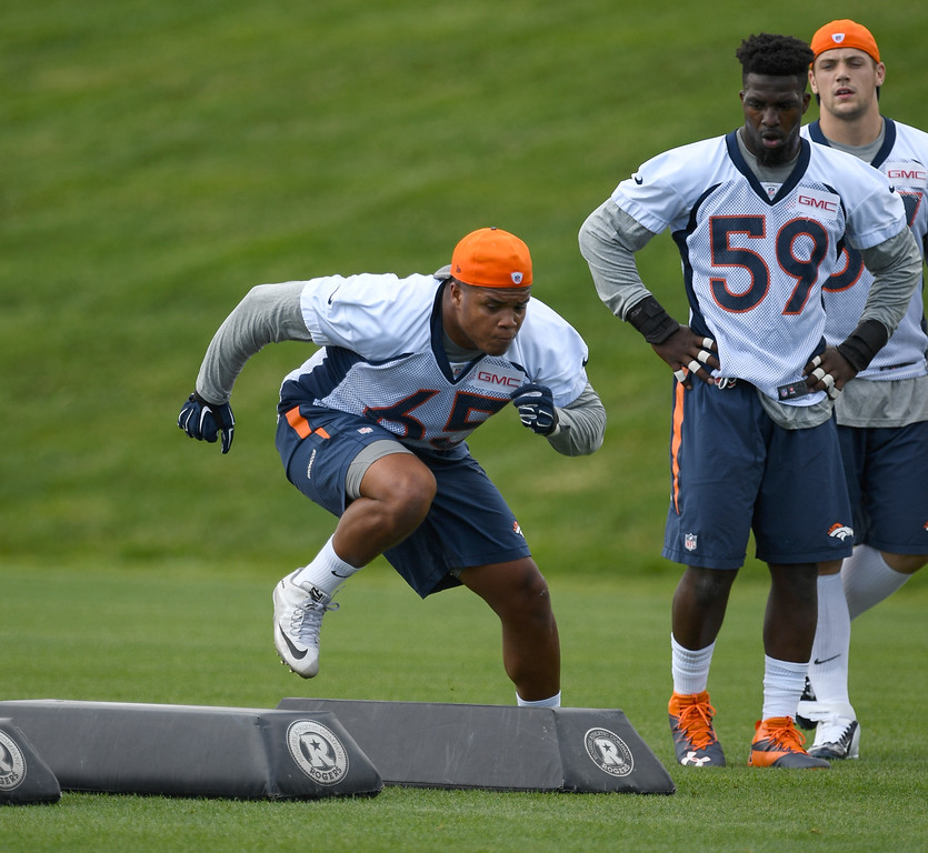 . Denver Broncos Eddie Yarbrough (65) runs through drills during rookie minicamp May 6, 2016 at UCHealth Training Facility. (Photo By John Leyba/The Denver Post)
