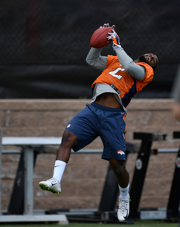 . Denver Broncos Bralon Addison (2)  catches a pass during rookie minicamp May 6, 2016 at UCHealth Training Facility. (Photo By John Leyba/The Denver Post)