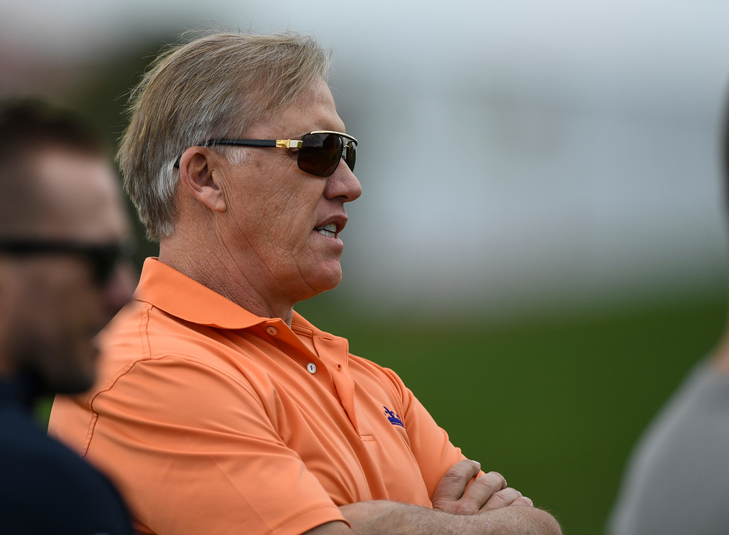 . Denver Broncos John Elway, executive vice president of football operations and general manager,  looks on during rookie minicamp May 6, 2016 at UCHealth Training Facility. (Photo By John Leyba/The Denver Post)