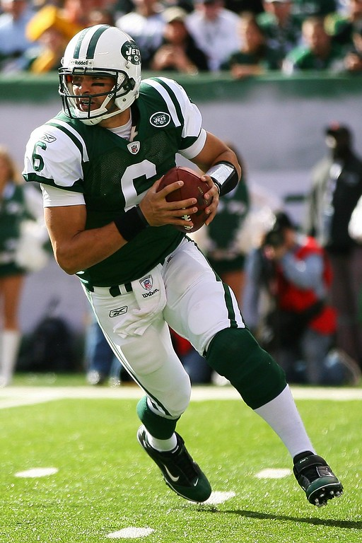 . Mark Sanchez #6 of the New York Jets drops back to pass against the Green Bay  Packers on October 31, 2010 at the New Meadowlands Stadium in East Rutherford, New Jersey.  (Photo by Andrew Burton/Getty Images)