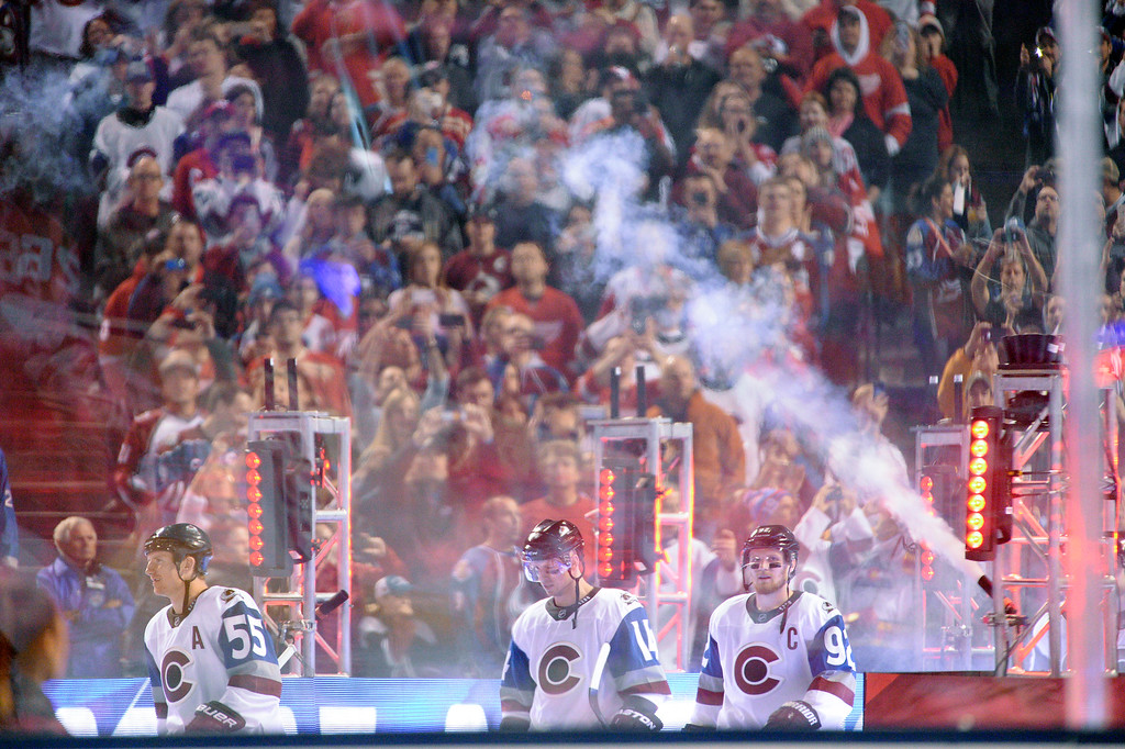 . Colorado Avalanche head to the ice for introductions before their game against Detroit Red Wings February 27, 2016 at Coors Field. (Photo By John Leyba/The Denver Post)