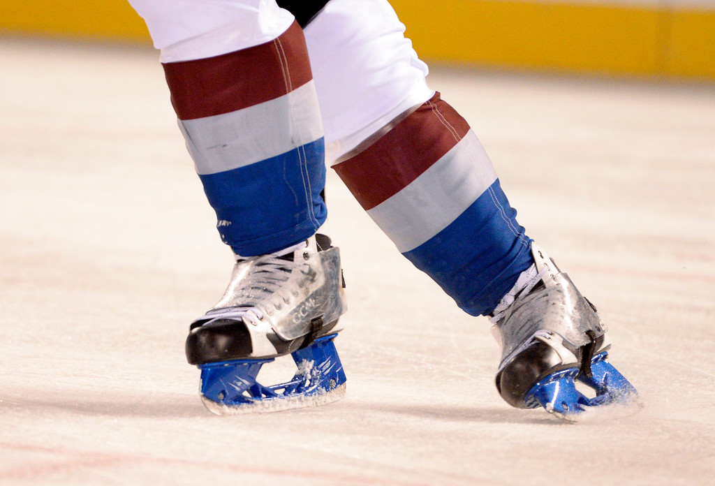 . Colorado Avalanche center Matt Duchene (9) skates with blue skates which he will be auctioning off after the game against the Detroit Red Wings February 27, 2016 at Coors Field. (Photo By John Leyba/The Denver Post)