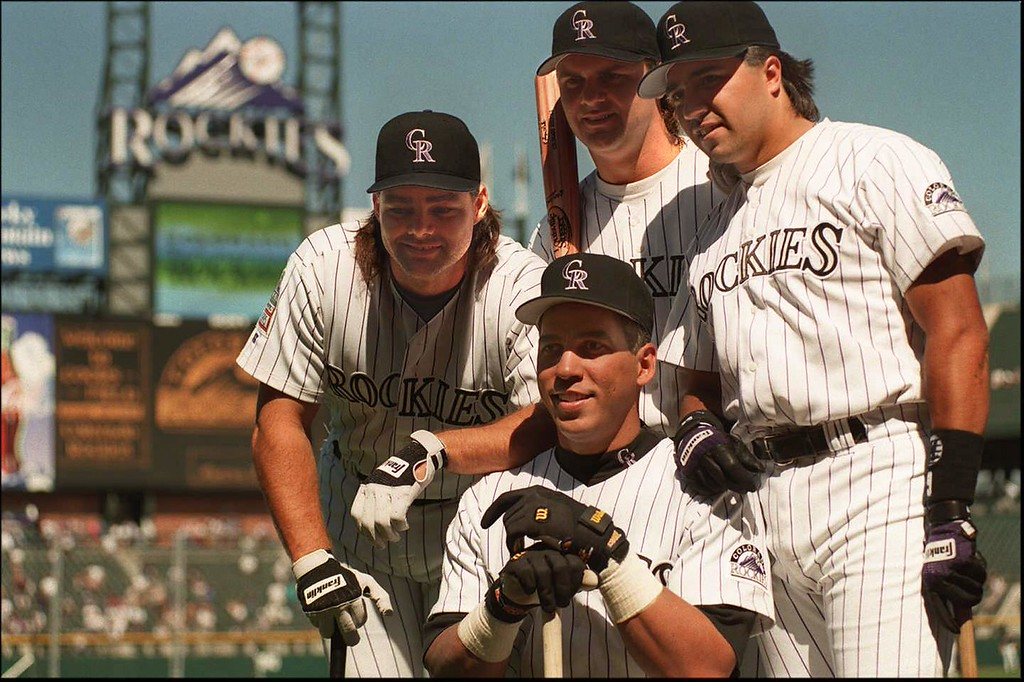 . The Blake Street Bombers at Coors field,1995 baseball season. Clockwise from bottom, Andres Galarraga, Dante Bichette, Larry Walker, Vinny Castilla.  Photo by Dominic Chavez/Denver Post