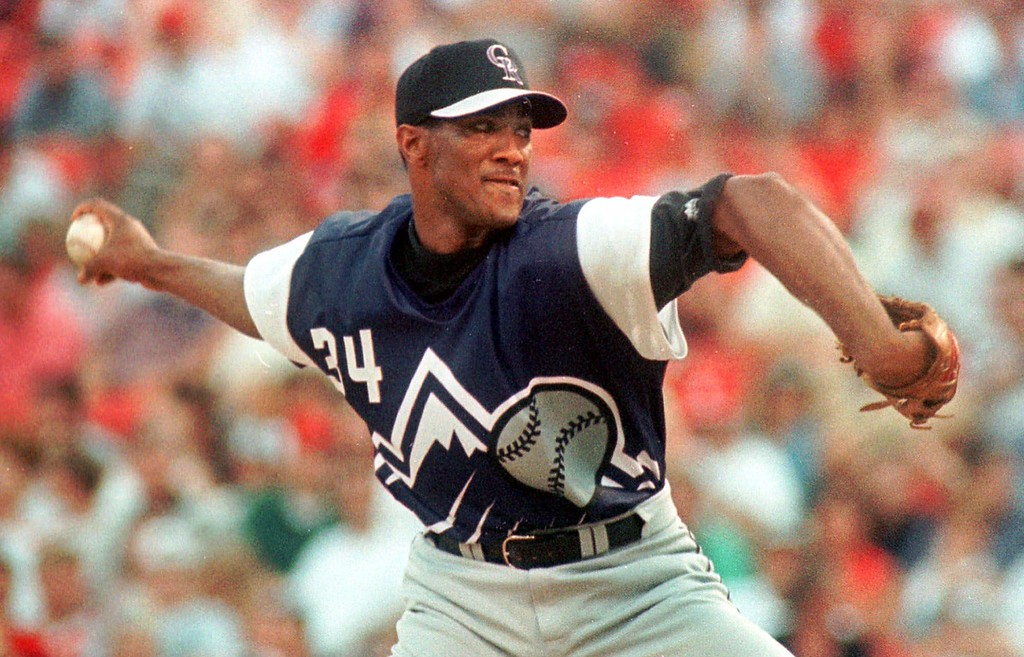 . Colorado Rockis starting pitcher Pedro Astacio fires home in the second inning against the St. Louis Cardinals on Friday, July 30, 1999, at Busch Stadium in St. Louis. (AP Photo/Leon Algee)