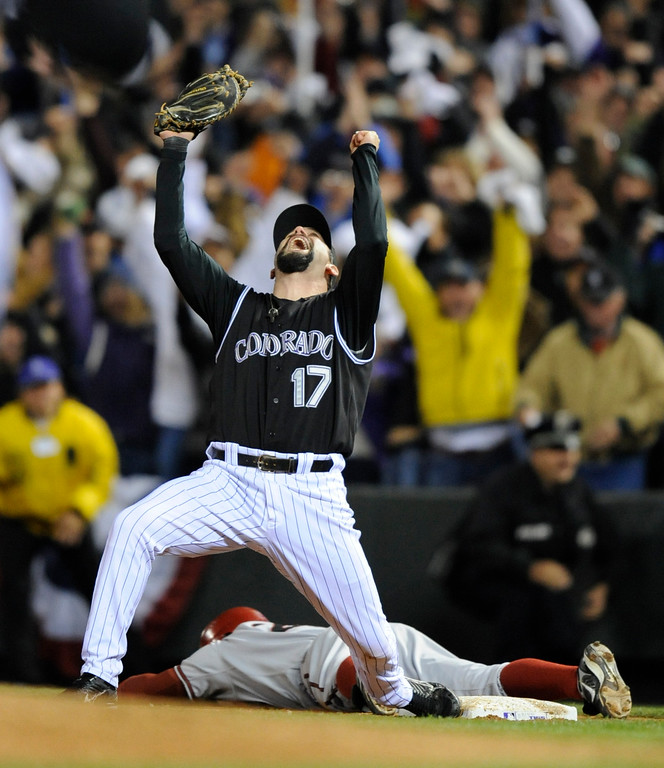 . Todd Helton celebrates the Rockies win. Game Four of the National League Championship series between the Colorado Rockies and Arizona Diamondbacks at Coors Field October 15, 2007.  (The Denver Post,  John Leyba)