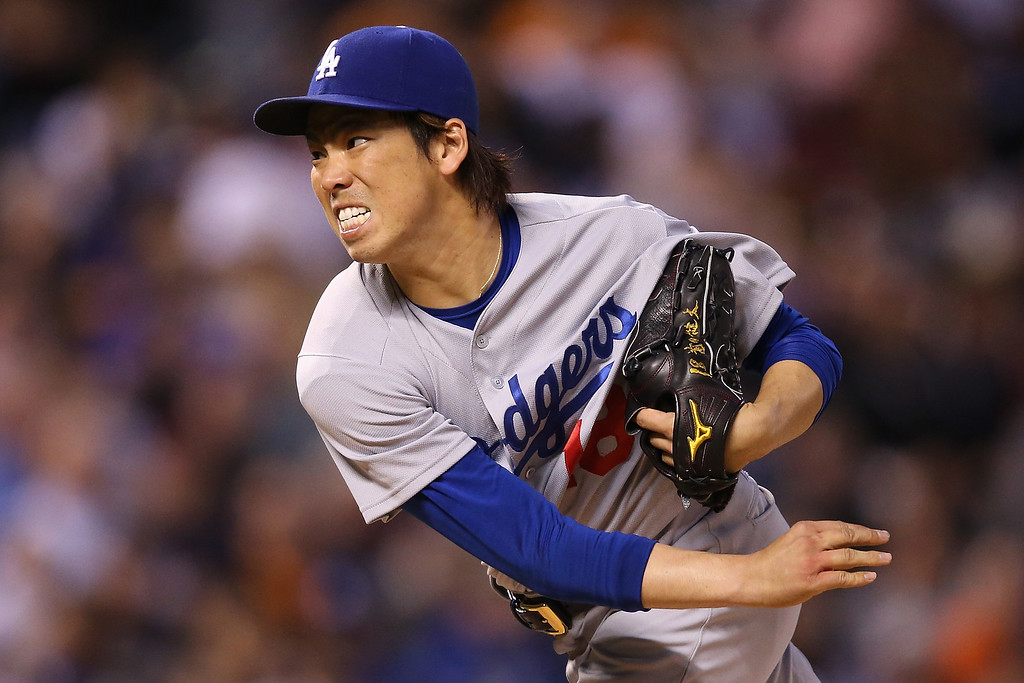. Starting pitcher Kenta Maeda #18 of the Los Angeles Dodgers delivers against the Colorado Rockies at Coors Field on April 23, 2016 in Denver, Colorado  (Photo by Doug Pensinger/Getty Images)