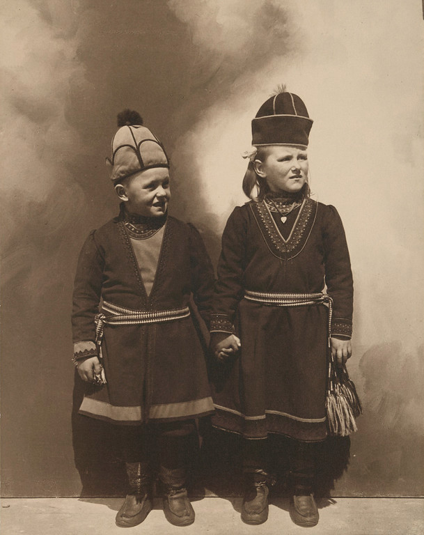 . Lapland children, possibly from Sweden. (Photo by Augustus Sherman)