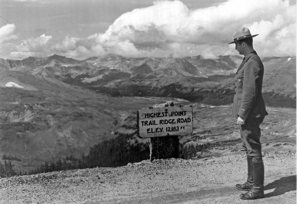 . Trail Ridge Road, Rocky Mountain National Park, Colorado in 1941. (Denver Post Library photo archive)