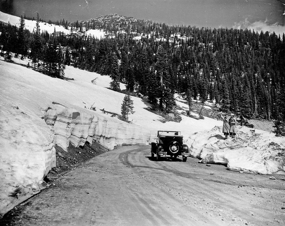 . Though not Trail Ridge Road, a nice photo from nearby Fall River Road in Rocky Mountain National Park, Colorado in 1932. (Denver Post Library photo archive)