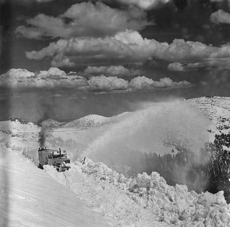 . Since the first Sno-Go was purchased in 1931, the arduous task of opening both the Fall River Road and the Trail Ridge Road been made considerably easier. 1974 (Denver Post Library photo archive)